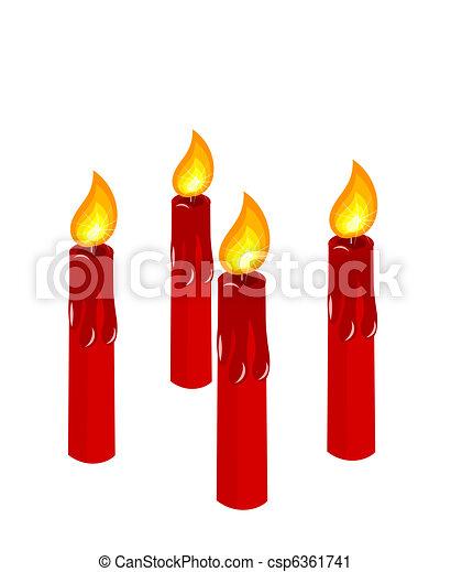 bougies, venue, rouges, brûlé - csp6361741