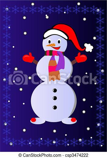 boule de neige, vecteur, - - csp3474222