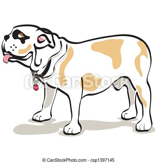 bouledogue, art graphique, chien, agrafe - csp1397145