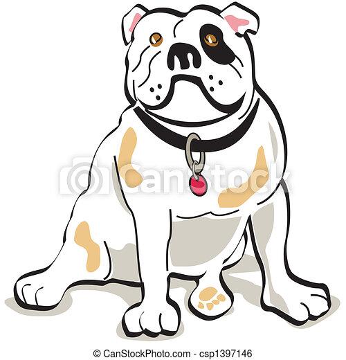 bouledogue, art graphique, chien, agrafe - csp1397146