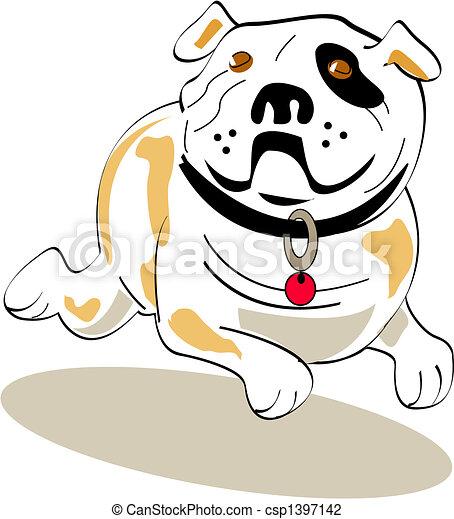 bouledogue, art graphique, chien, agrafe - csp1397142