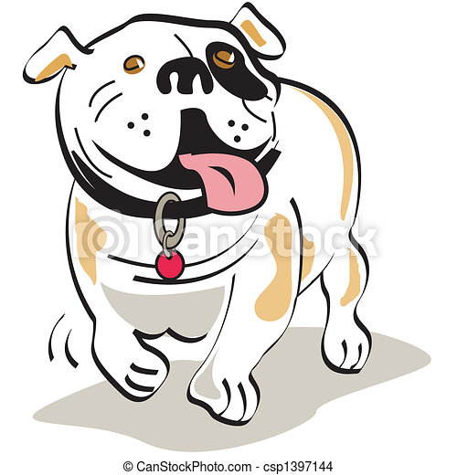 bouledogue, art graphique, chien, agrafe - csp1397144
