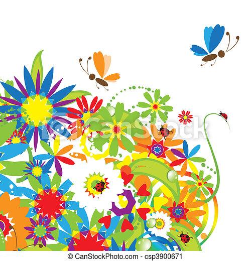 bouquet floral, illustration, été - csp3900671