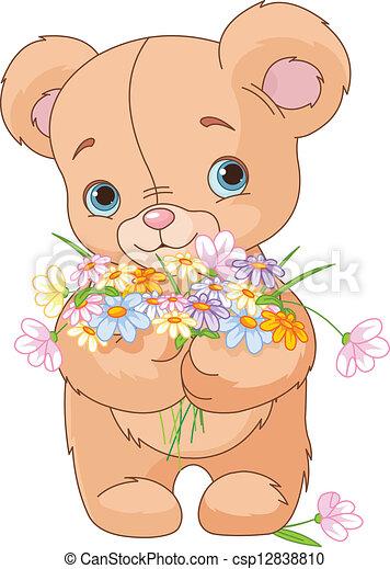 bouquet, ours peluche, donner - csp12838810
