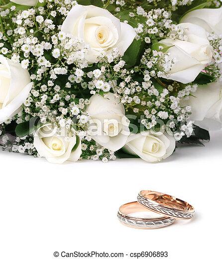 bouquet, roses, anneaux, mariage - csp6906893