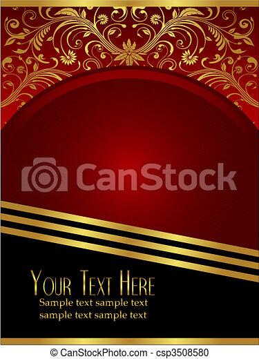 bourgogne, feuille, orné, royal, fond, or - csp3508580