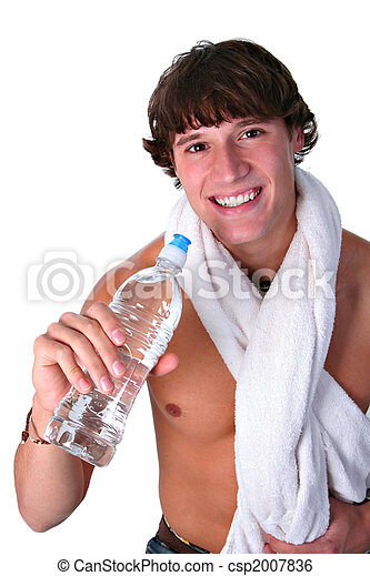 bouteille, sain, jeune, eau, tenue, homme - csp2007836