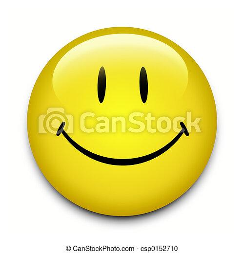 bouton, visage smiley - csp0152710