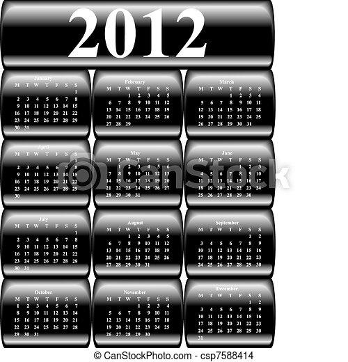 boutons, 2012, vecteur, calendrier - csp7588414