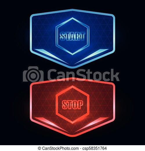 boutons, début, arrêt, futuriste - csp58351764