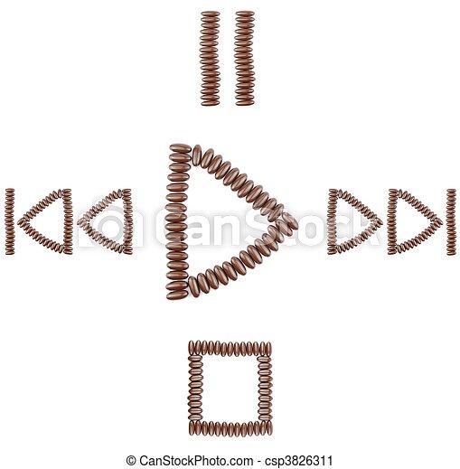 boutons, joueur, chocolat, média - csp3826311