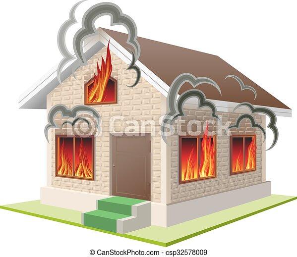 brûler, propriété, assurance, contre - csp32578009