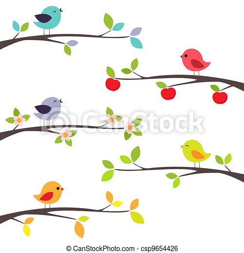 branches, oiseaux - csp9654426