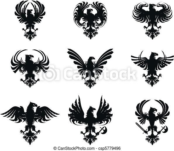 bras, manteau, aigle, ensemble, héraldique - csp5779496