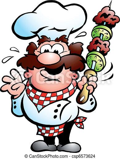brochette, chef cuistot, chiche-kebab - csp6573624