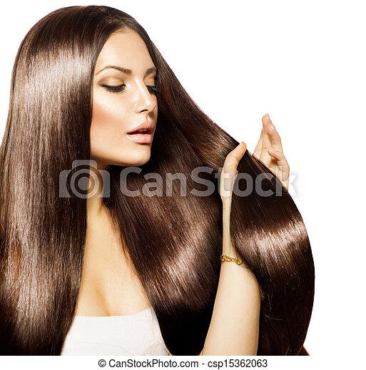 brun, femme, beauté, elle, sain, longs cheveux, toucher - csp15362063