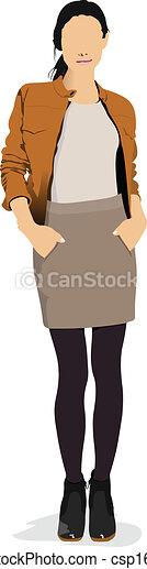 brun, girl, jacket., coloré, jeune - csp16864702