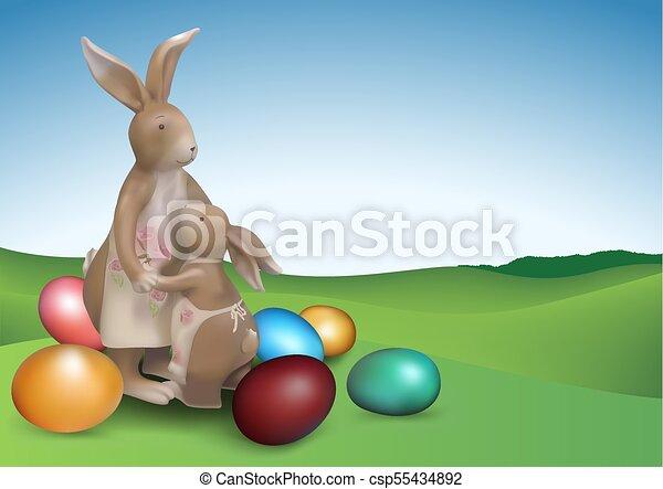 brun, lapins, paques, deux, fond - csp55434892