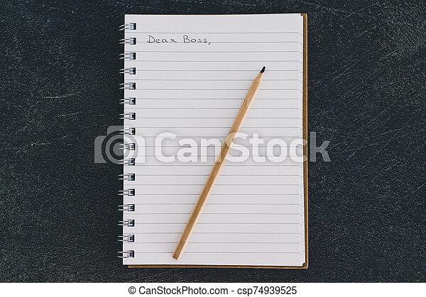 business, cher, cahier, communication, dans, patron, équipe, message - csp74939525