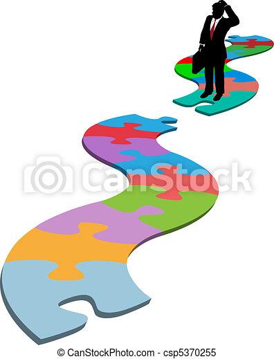 business, disparu, puzzle, sentier, morceau, trouver, homme - csp5370255