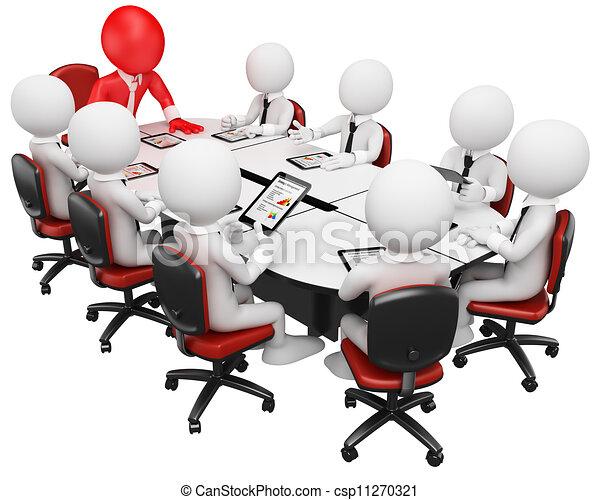 business, gens., réunion, 3d, blanc - csp11270321