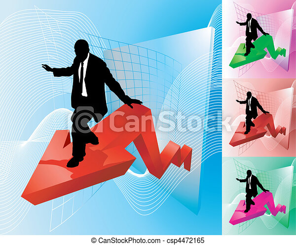 business, profit, illustration, surfeur, concept - csp4472165