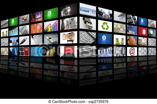 business, tv, grand écran, internet, panneau - csp2735976