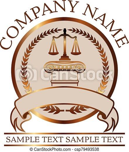 cachet, -, ou, justice, avocat, droit & loi, or, ionique, balances, colonne - csp79493538