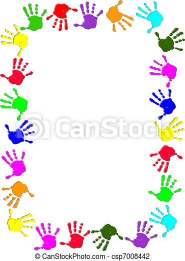 cadre, coloré, main - csp7008442