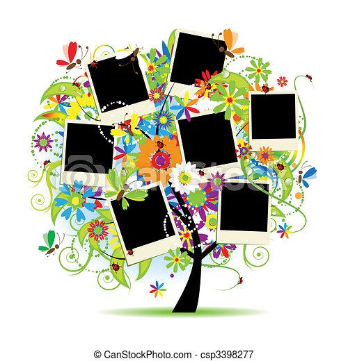cadres, arbre, album., ton, floral, famille, photos. - csp3398277