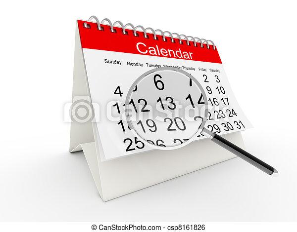 calendrier, 3d, bureau - csp8161826