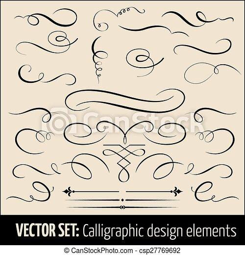 calligraphic, page, elements., ensemble, vecteur, conception, décoration - csp27769692