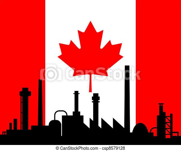 canada, industrie, drapeau - csp8579128