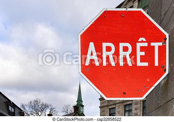 canada, ville, arrêt, -, français signent, québec - csp32858522