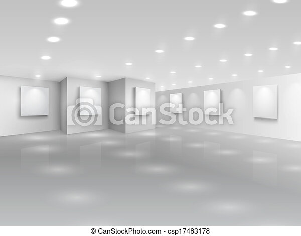 canevas, galerie, réaliste, vide, blanc, salle - csp17483178