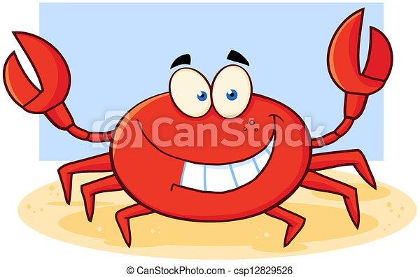 caractère, dessin animé, crabe, mascotte - csp12829526