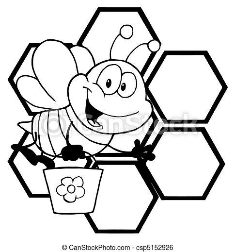 caractère, dessin animé, esquissé, abeille - csp5152926