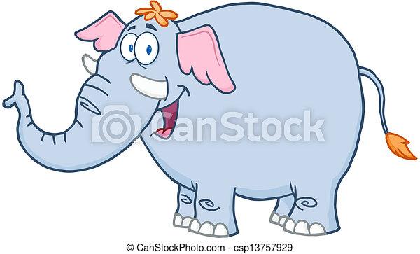 caractère, dessin animé, mascotte, éléphant - csp13757929