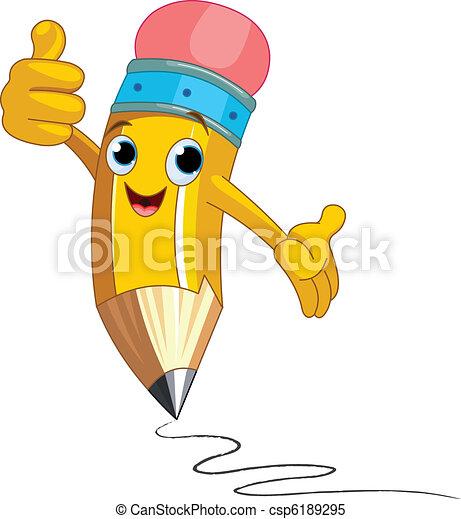 caractère, donner, pouces, crayon, haut - csp6189295