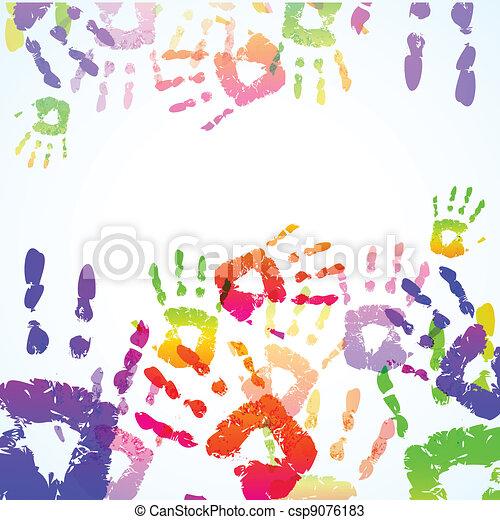 caractères, coloré, fond, main - csp9076183