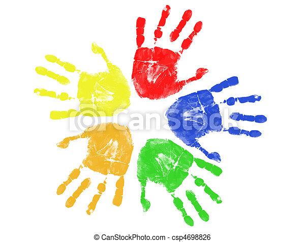caractères, coloré, main - csp4698826