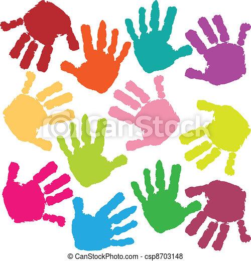 caractères, mains, enfant - csp8703148