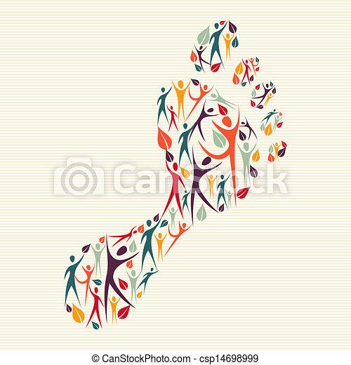 caractères pied, concept, diversité, humain - csp14698999