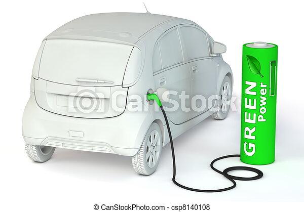 carburants, puissance, batterie, -, poste de carburant, vert, e-car - csp8140108