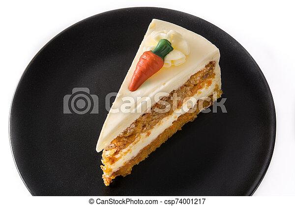 carotte, plaque, gâteau, isolé, couper, arrière-plan., doux, blanc - csp74001217