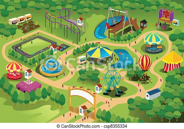 carte, parc, amusement - csp8355334