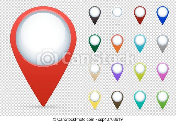 carte, vecteur, ensemble, indicateurs - csp40703619