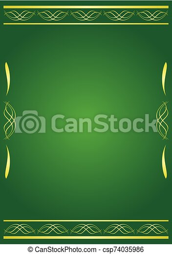 carte, vecteur, vert, décoratif, tracery - csp74035986