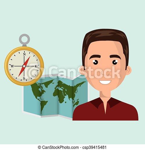 carte, voyage, global, homme, mondiale - csp39415481