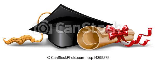 casquette, diplôme, remise de diplomes - csp14398278